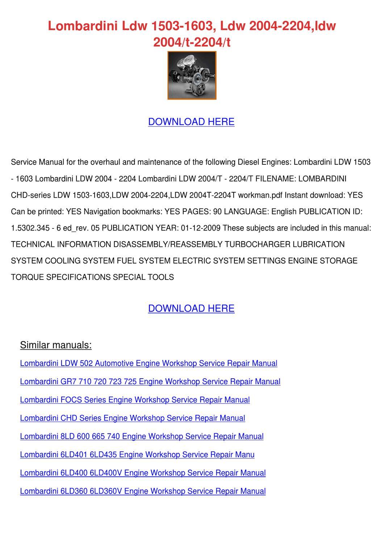 Lombardini lmg 600 workshop manual pdf