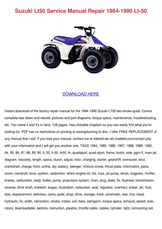 1984 suzuki lt50 owners manual
