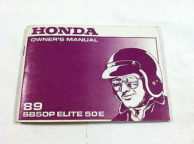 1990 honda sb50p elite 50e scooter owners manual