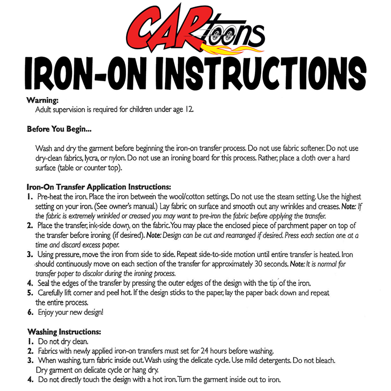 instructions quirkii iron transfer