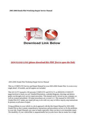 2006 honda pilot service manual pdf