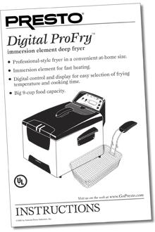 presto profry deep fryer instructions