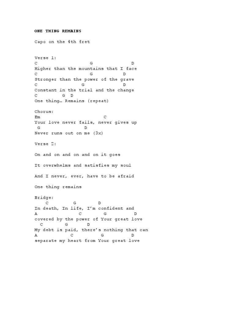 One thing remain chords pdf