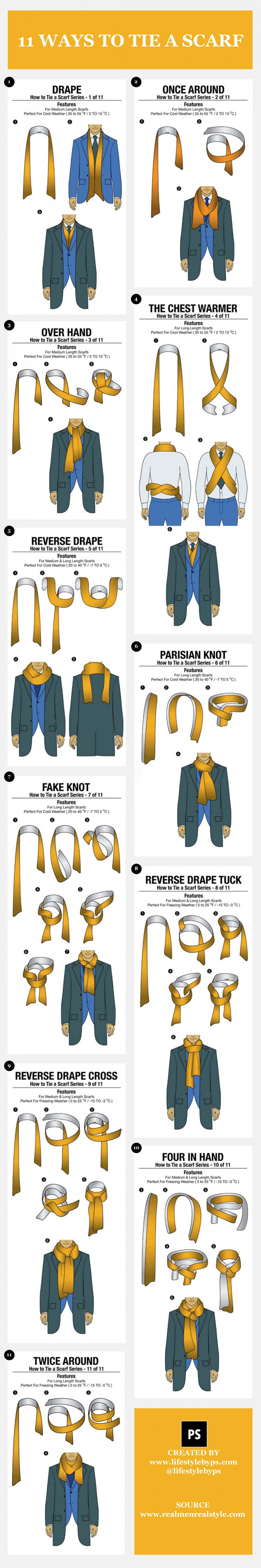Printable scarf tying instructions