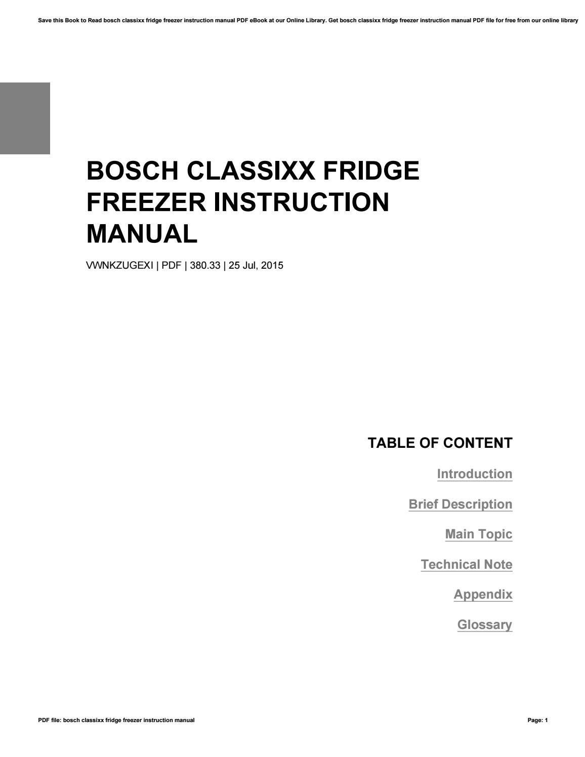 Bosch classixx fridge freezer instruction manual
