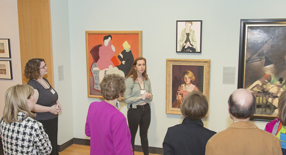 Working as a tour guide in a useum