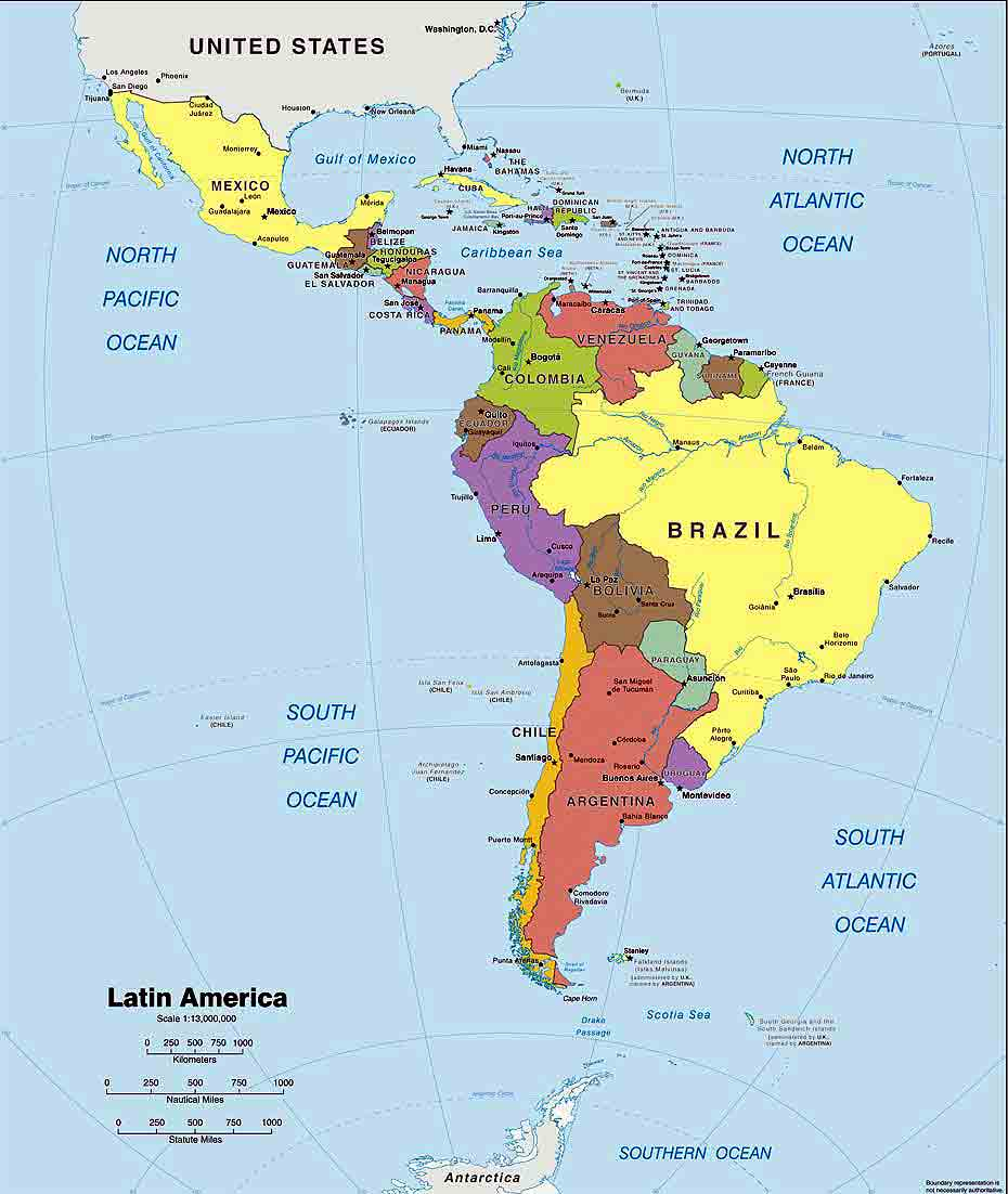 Latin america political map pdf