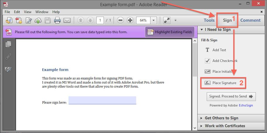 Create digital signature block in pdf