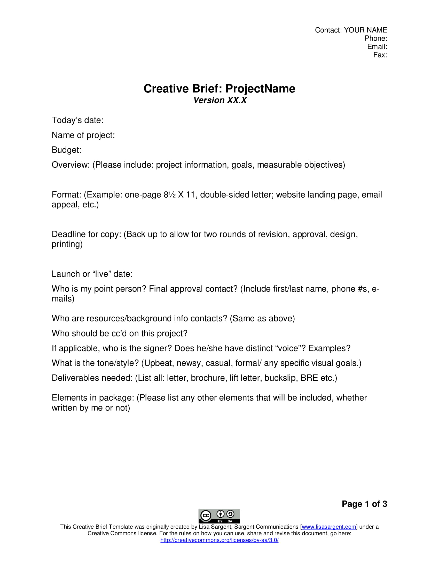 Examples of creative brief pdf