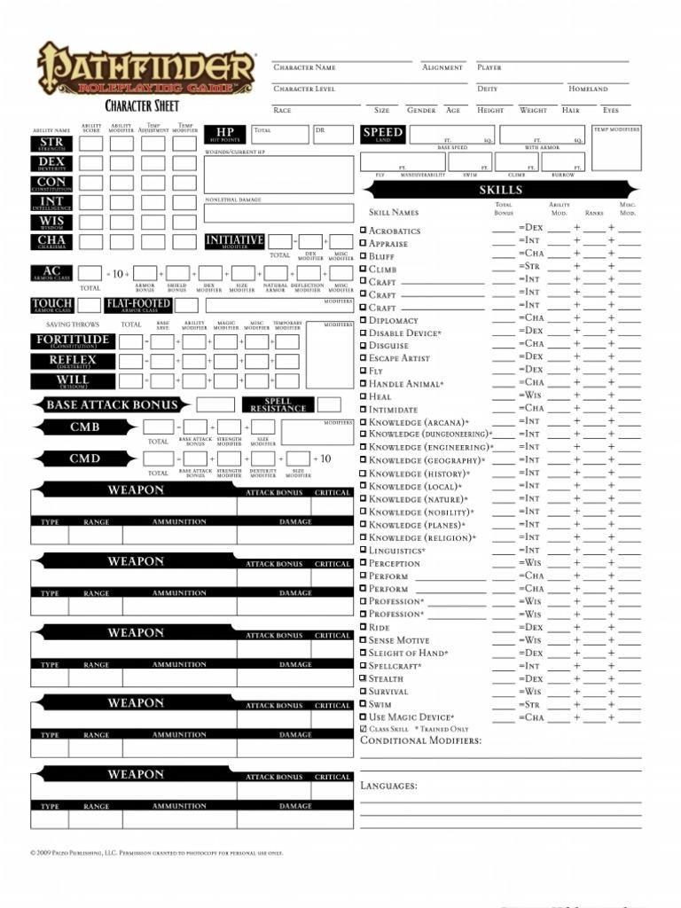 Editable 3.5 character sheet pdf