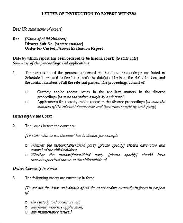 letter of instruction example