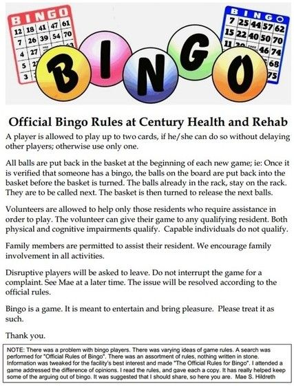 bingo rules and instructions