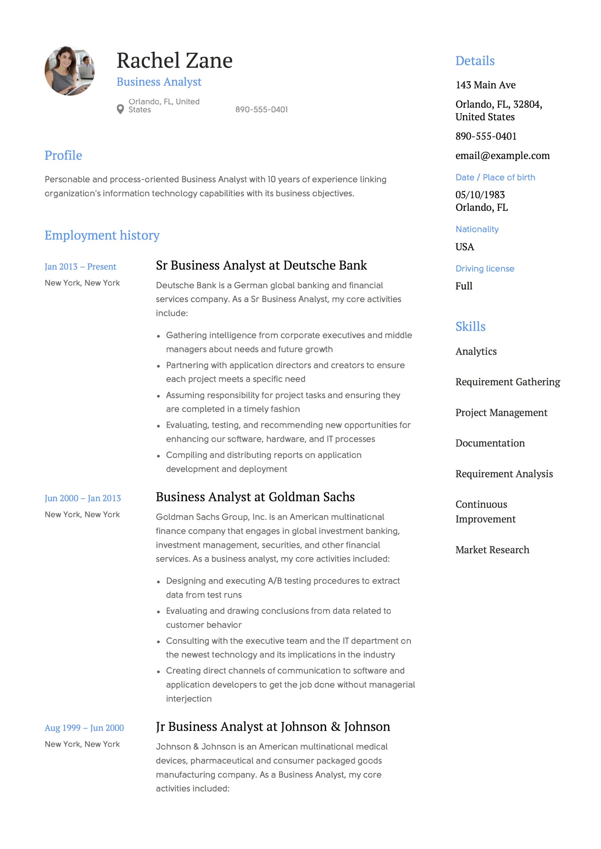 Senior business analyst resume pdf