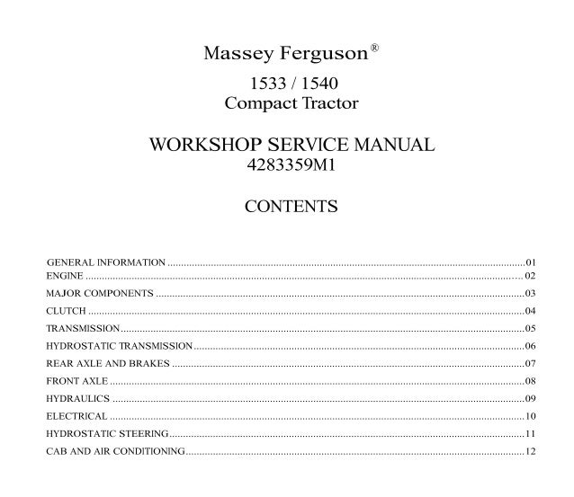 massey ferguson 1528 service manual