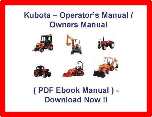 kubota tractor operators manual pdf