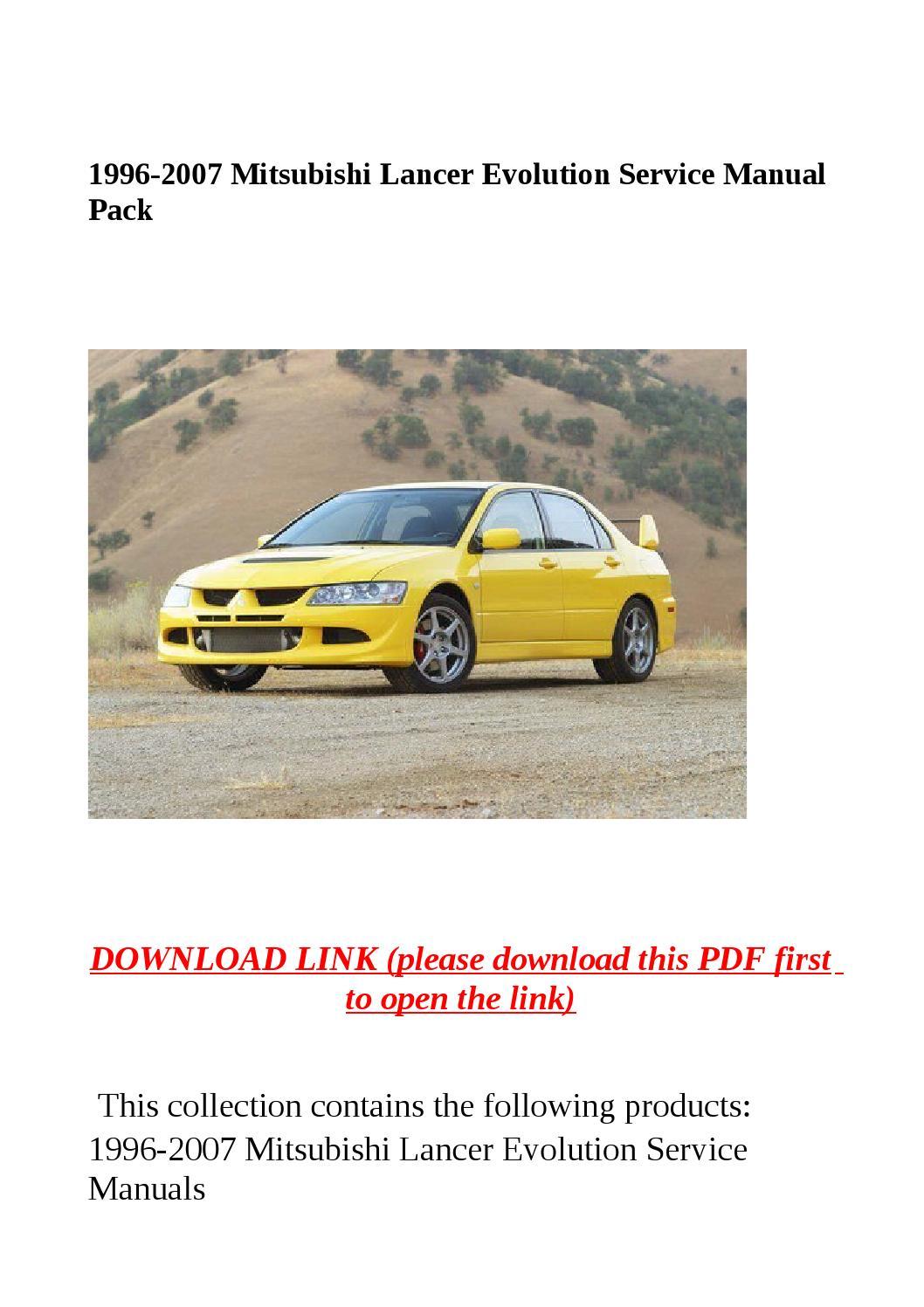 Mitsubishi lancer workshop manual pdf