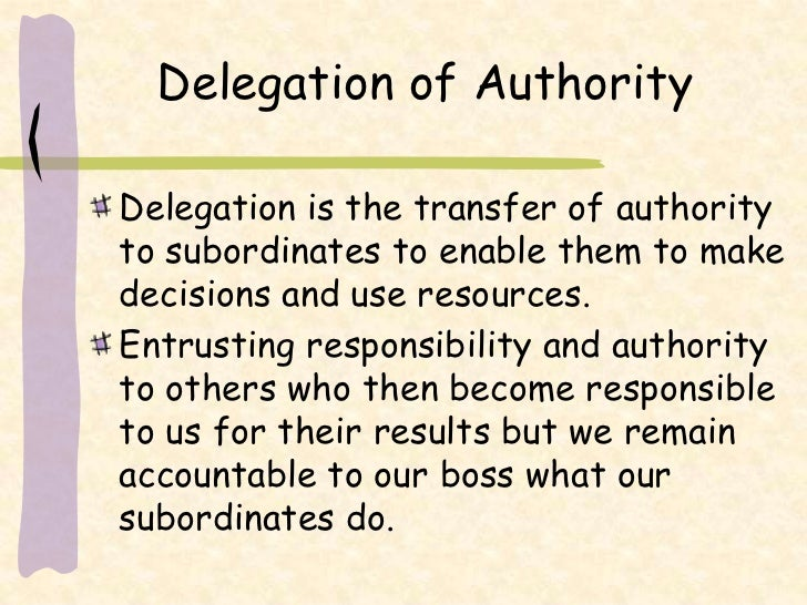 Delegation of authority and responsibility pdf