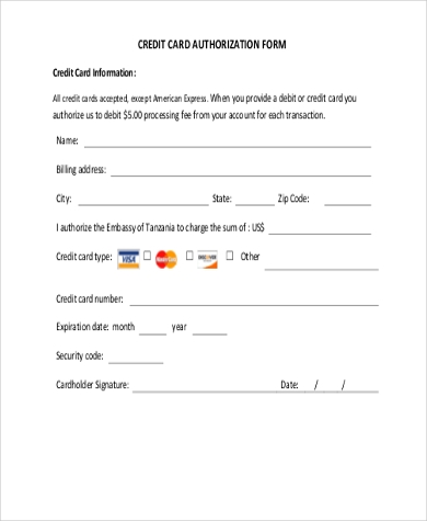 Renaissance credit card authorization form