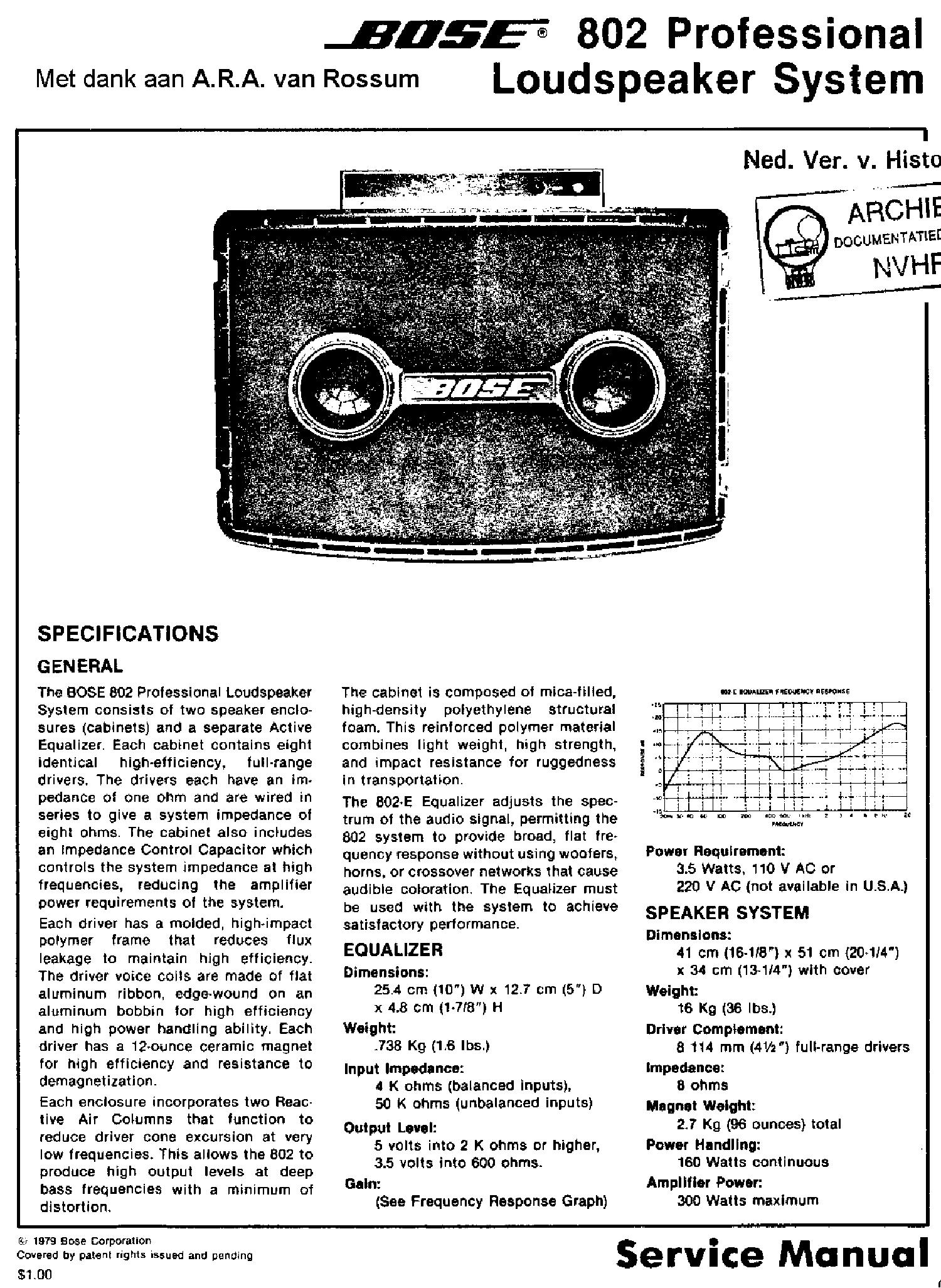 Bose 802 series ii manual