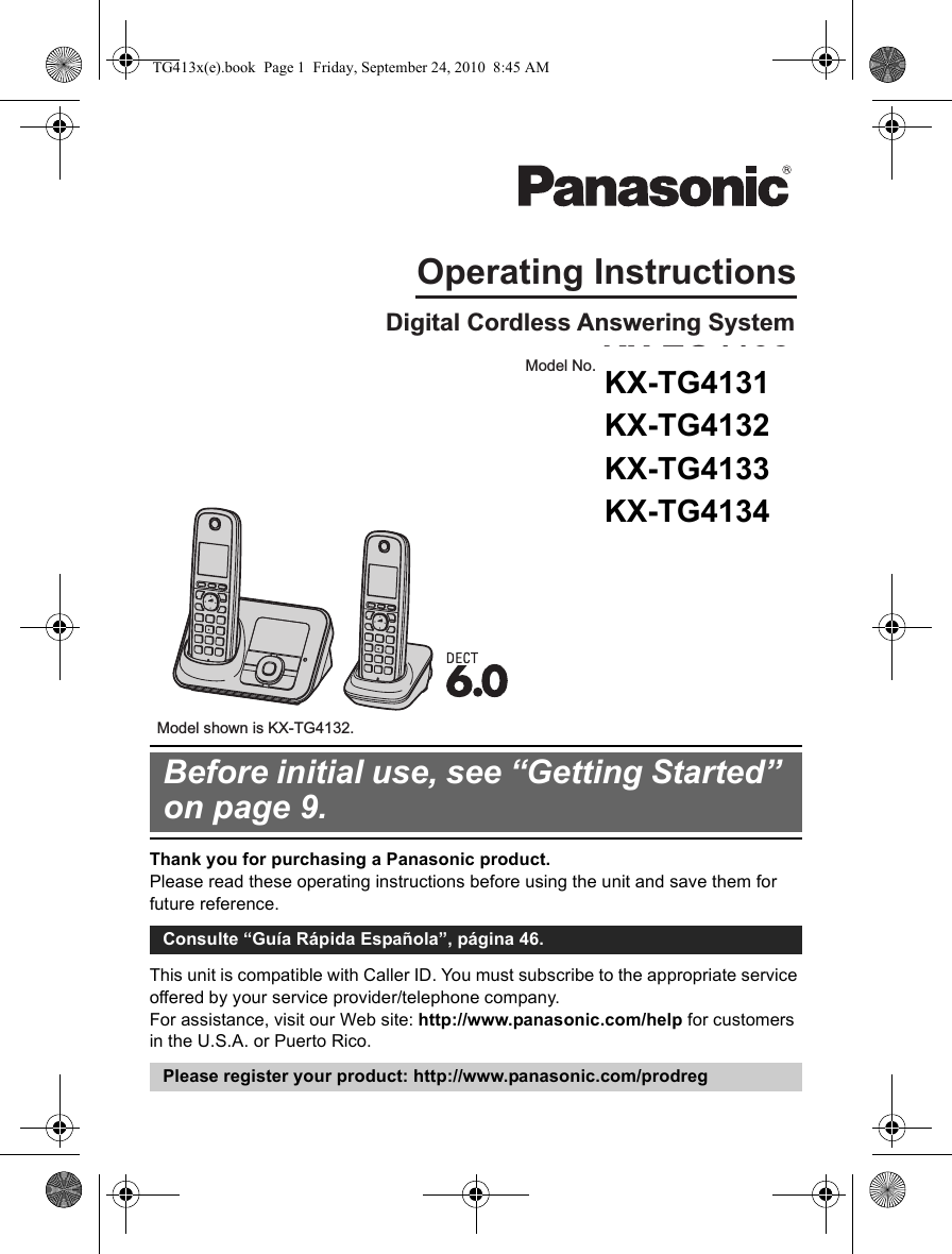 panasonic telephone handset instructions