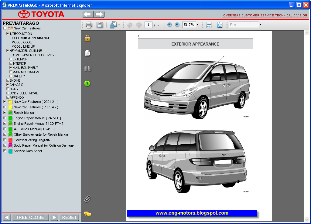toyota previa 2000 owners manual