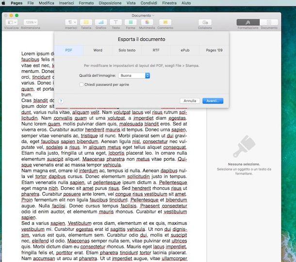 Trasformare documento word in pdf