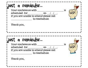 Parent teacher conference reminder form pdf