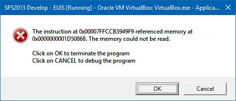 the instruction at referenced memory at virtualbox