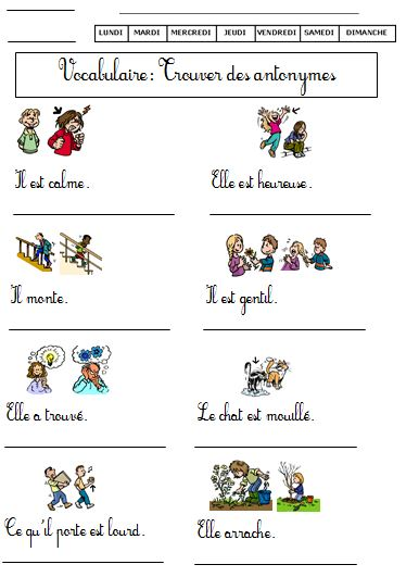 Les synonymes ce2 exercices pdf