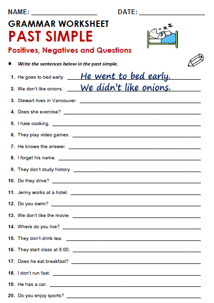 Simple past tense practice pdf