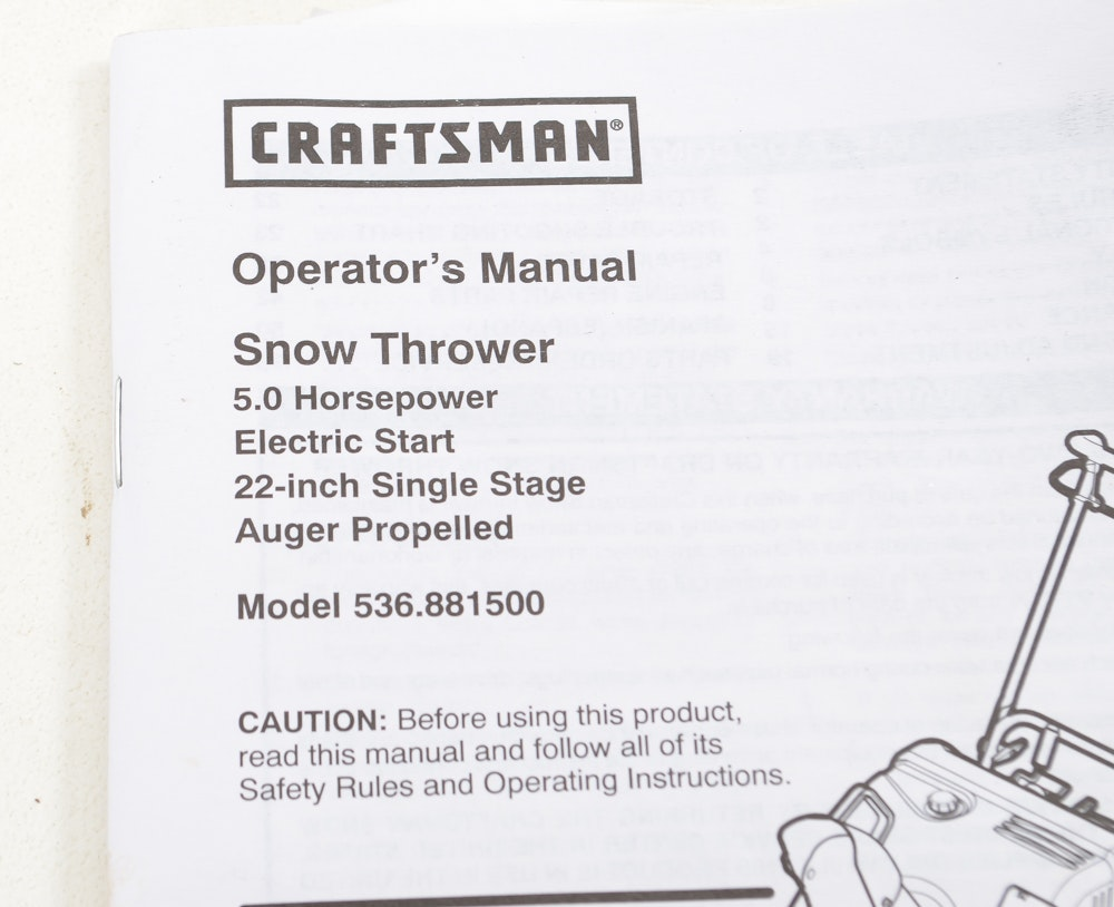 Craftsman 22 inch snow thrower manual