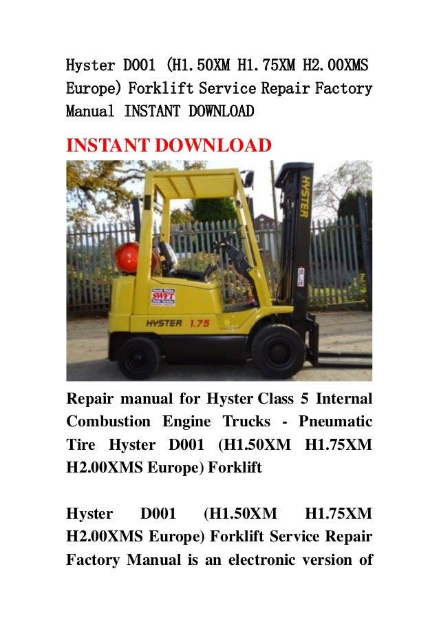 Hyster 50 forklift manual pdf