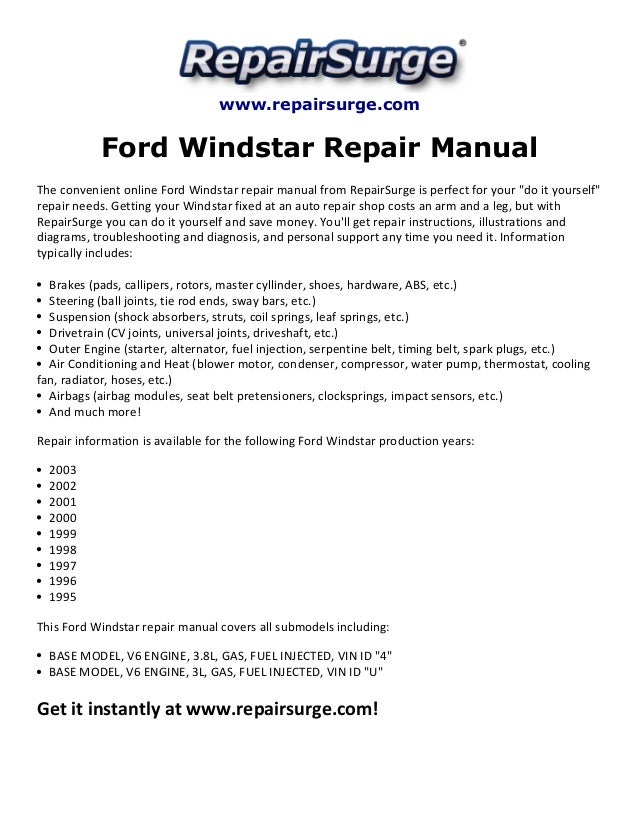 Owners manual for a 2000 ford windstar