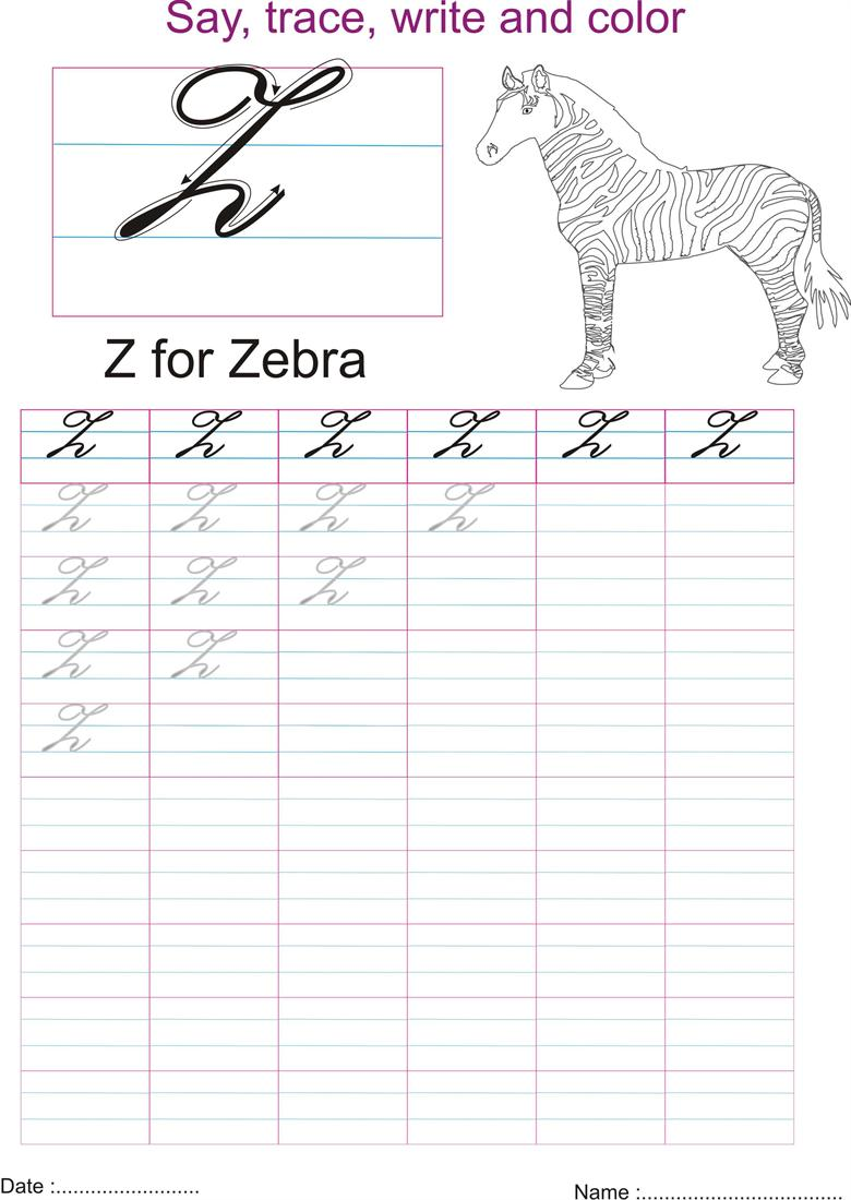 Cursive writing a to z capital letters pdf