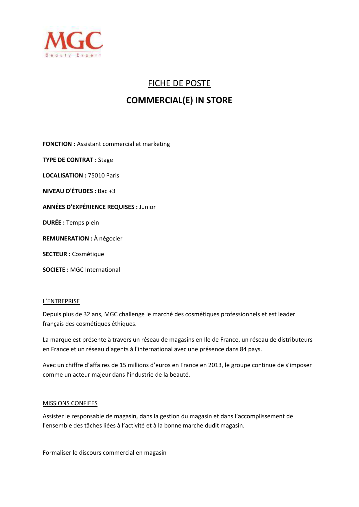 Fiche de poste responsable commercial et marketing pdf