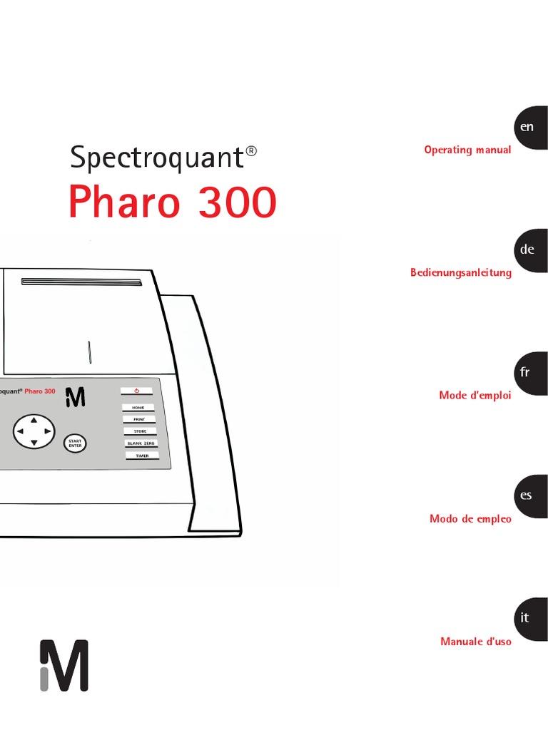 Spectroquant pharo 300 user manual