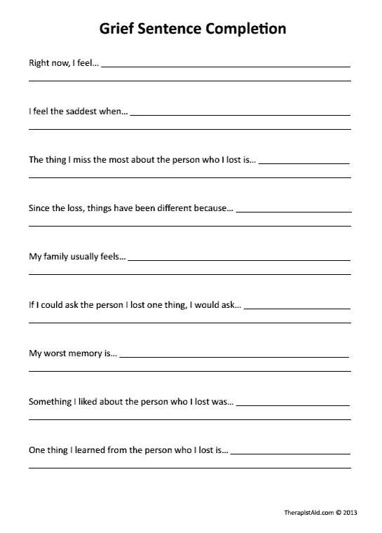 Grief and loss worksheets for adults pdf