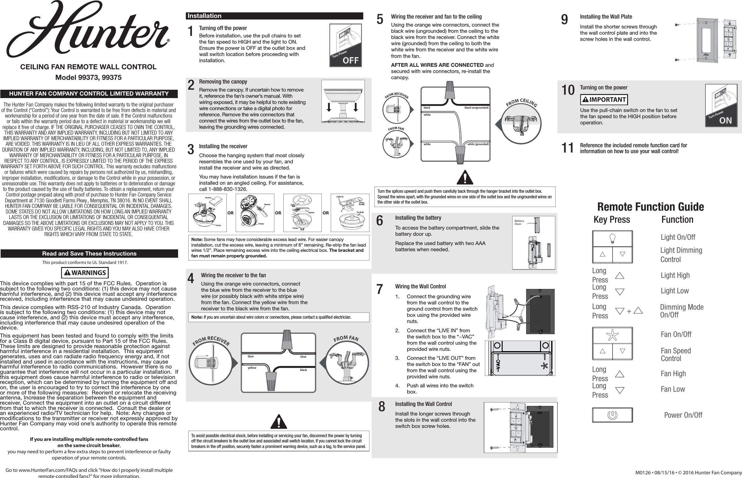 hunter fan company 99375 manual