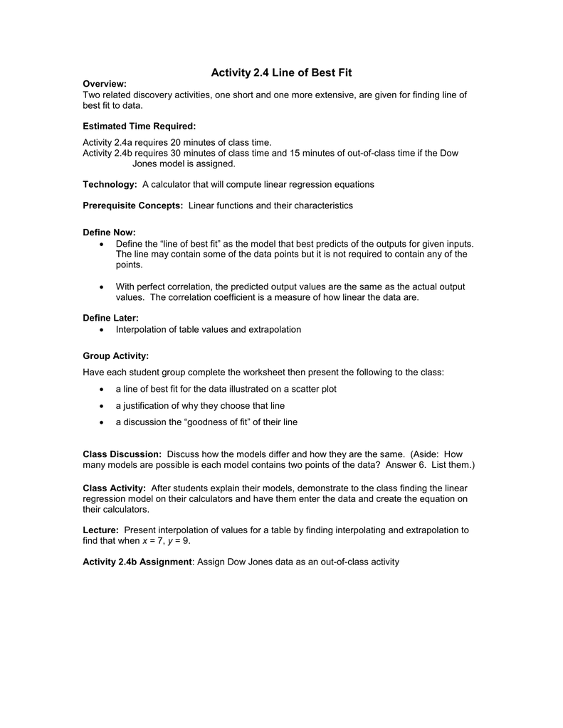 Interpolation and extrapolation worksheet pdf