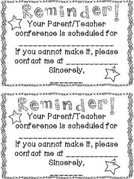 Parent teacher conference reminder form pdf