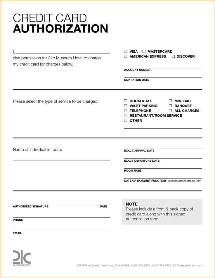 Renaissance credit card authorization form