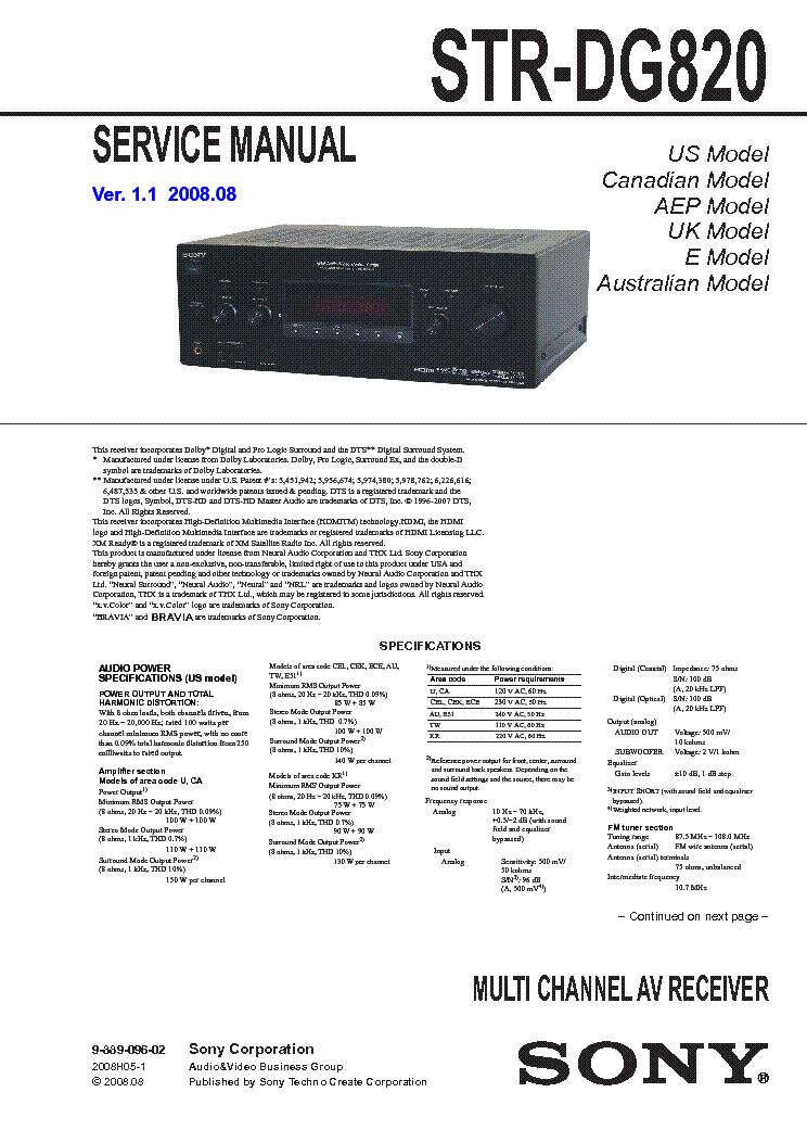 sony str-dg820 service manual
