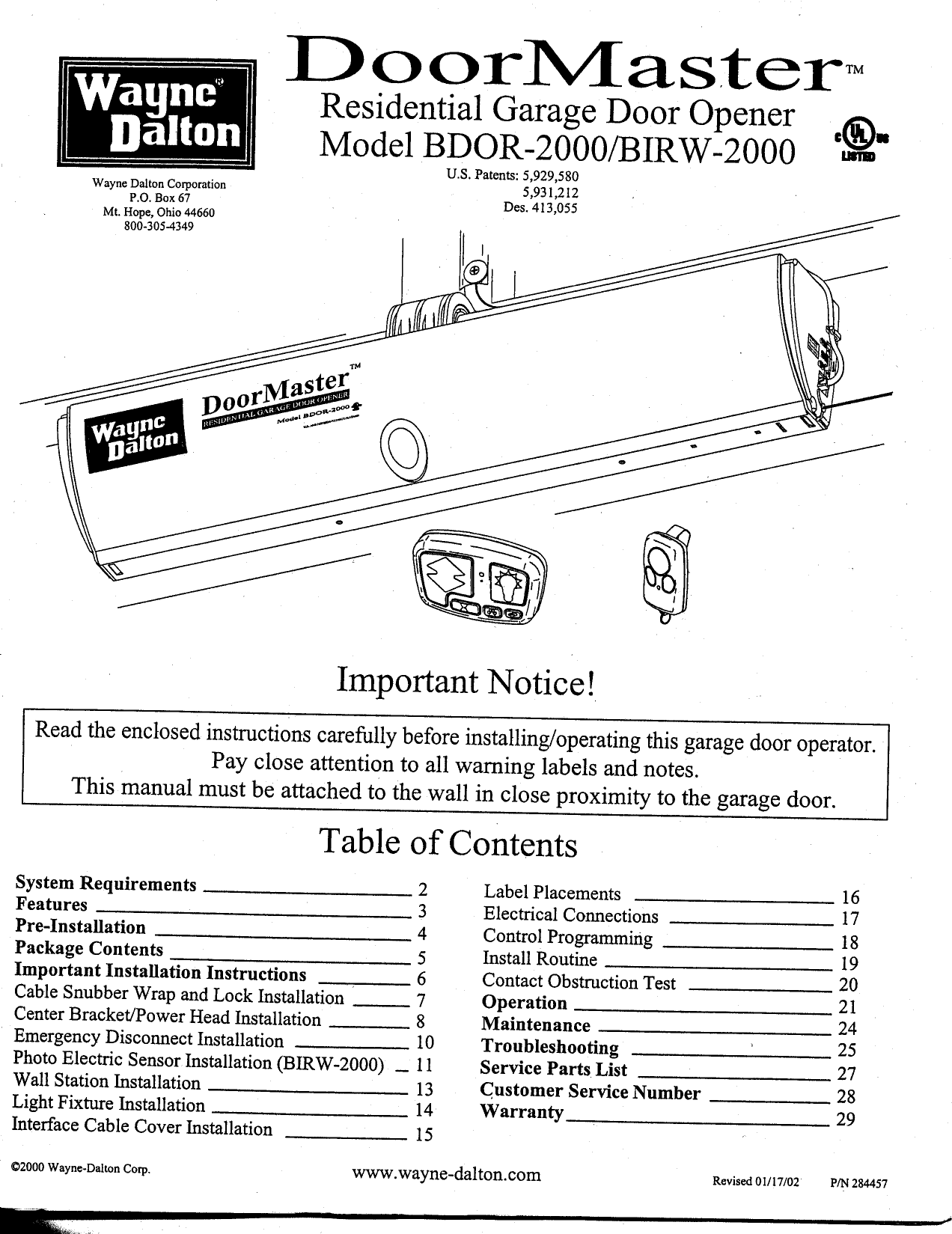 Wayne dalton garage door manual
